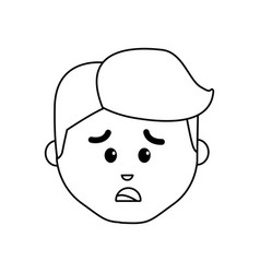 line cartoon man face sad expression vector image