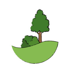Tree natual bush grass land forest vector