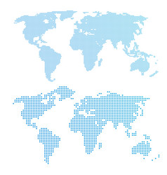 World map in dots blue color vector