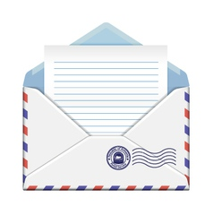 Open envelope with paper vector