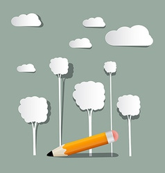 Paper trees and clouds with pencil vector