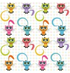 Pattern with color cats vector