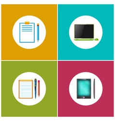 Set icons for office work and business vector
