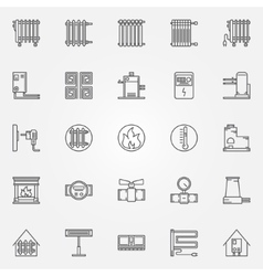 Home heating icons set vector