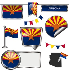 Glossy icons with arizonan flag vector