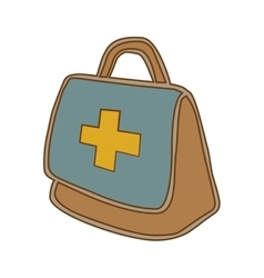 Medical emergency first aids kit or suitcase vector