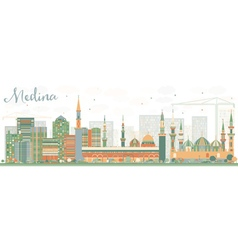 Abstract medina skyline with color buildings vector