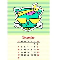 Calendar 2017 with cats december in cartoon 80s vector