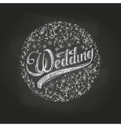 Chalk drawing wedding vector