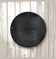 Circle blackboard at white wooden backdrop vector