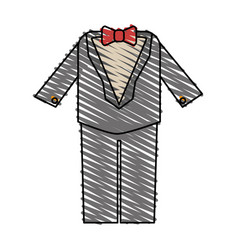 Color crayon stripe image wedding suit male with vector