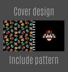 Cover design with tribal masks pattern vector