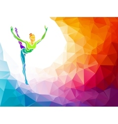 Creative silhouette of gymnastic girl on vector