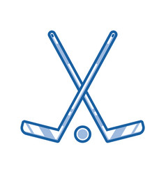 crossed hockey sticks outline icon vector image