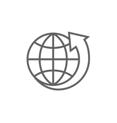 Earth and arrow around line icon vector