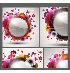 floral background set vector image