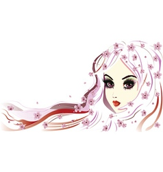 Floral girl with white hair3 vector