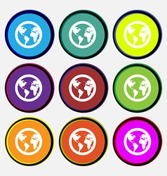 Globe icon sign nine multi colored round buttons vector