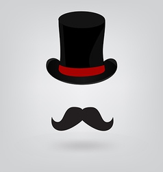Hat and mustache vector image