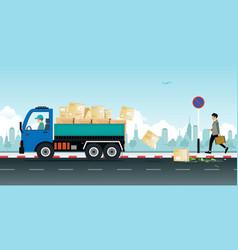 Irresponsible cargo truck vector