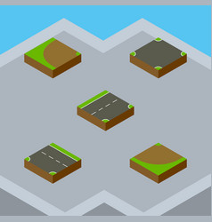 Isometric way set of downward crossroad turn and vector