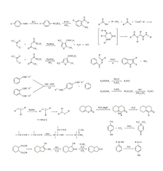 Large set of basic chemical reaction equations and vector image vector image