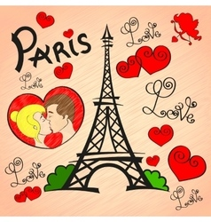 Paris Love romance vector image