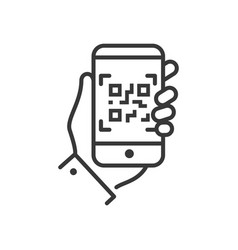 qr code scanner - line design single isolated icon vector image vector image