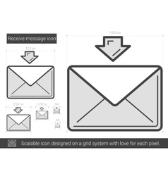 Receive message line icon vector