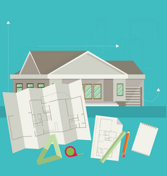 set of architect concept design flat line vector image