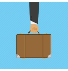 Suitcase in hand vector image vector image