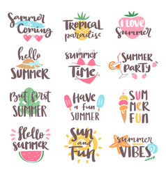 Summer coming time lettering text typography art vector