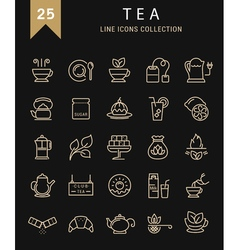 Tea line icons 9 vector