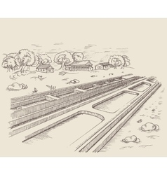 The parallel path rail railroad vector
