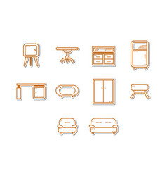 thin line furniture icon set vector image