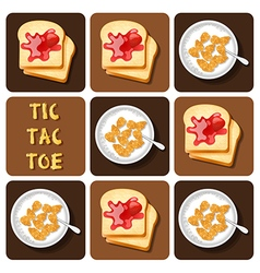 Tic-tac-toe of cereal and bread vector