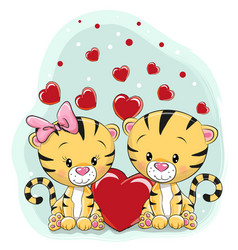 Two cute tigers with hearts vector