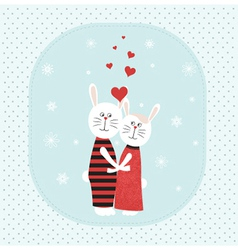 Two rabbits in love vector image vector image