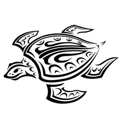 Underwater turtle in tribal style vector