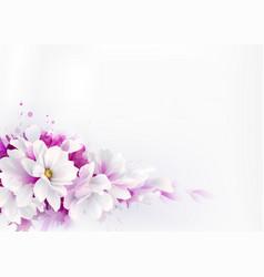 White beautiful magnolias spring vector