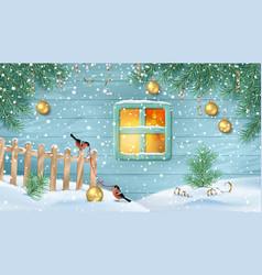 Winter snowy scene vector