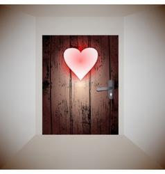 Wood door love vector