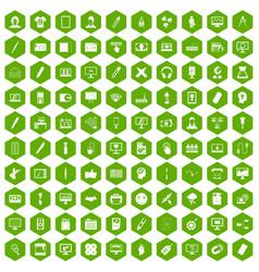 100 webdesign icons hexagon green vector