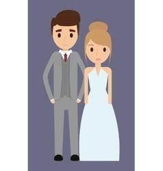 couple cartoon wedding marriage icon vector image