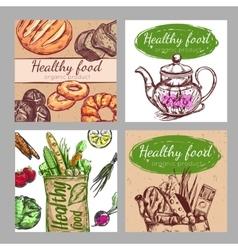 Sketch Healthy Food Icon Set vector image
