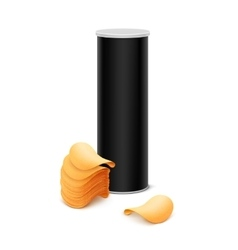 Black tin box container with stack of potato chips vector