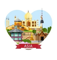 Asia travel banner with famous attractions vector
