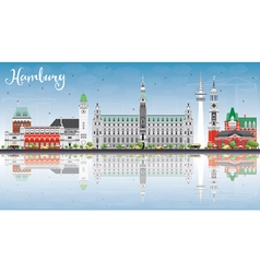 Hamburg skyline with gray buildings vector
