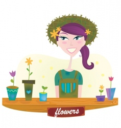 Woman with spring garden flowers vector