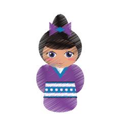 Drawing japanese doll geisha folk image vector